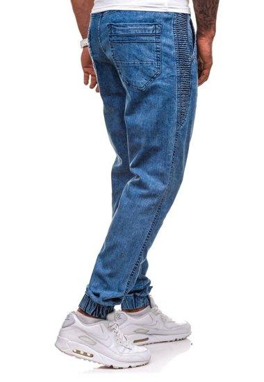 Spodnie jeansowe joggery męskie błękitne Denley 4449