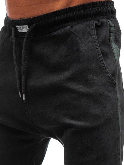 Spodnie jeansowe joggery męskie czarne Denley 2053