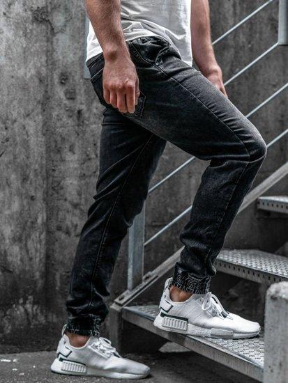 Spodnie jeansowe joggery męskie czarne Denley  KA1078