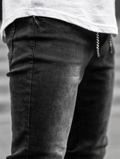 Spodnie jeansowe joggery męskie czarne Denley  KA1096