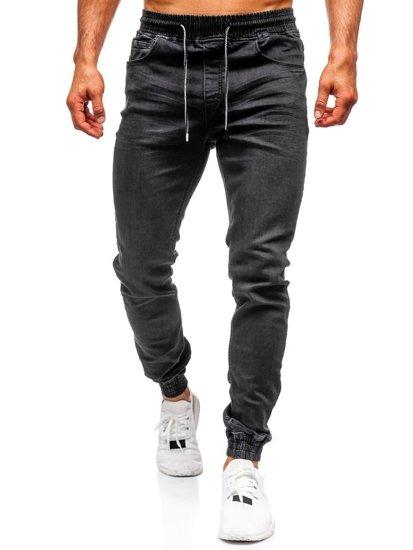 Spodnie jeansowe joggery męskie czarne Denley  KA1105