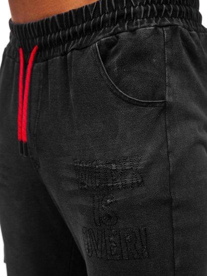 Spodnie jeansowe joggery męskie czarne Denley KK1110