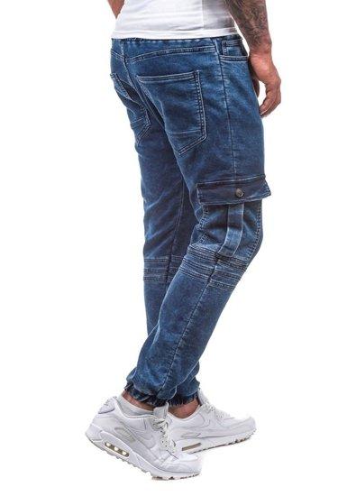Spodnie jeansowe joggery męskie granatowe Denley 805