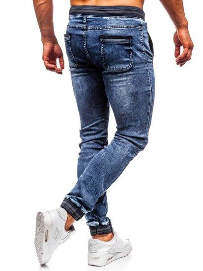 Spodnie jeansowe joggery męskie granatowe Denley  KA688