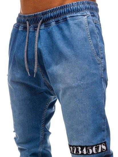 Spodnie jeansowe joggery męskie niebieskie Denley 2031