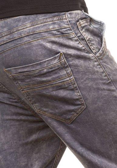 Spodnie jeansowe joggery męskie szare Denley 4156-1