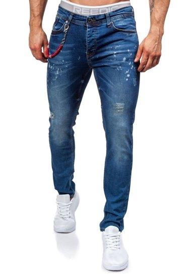Spodnie jeansowe męskie granatowe Denley 303