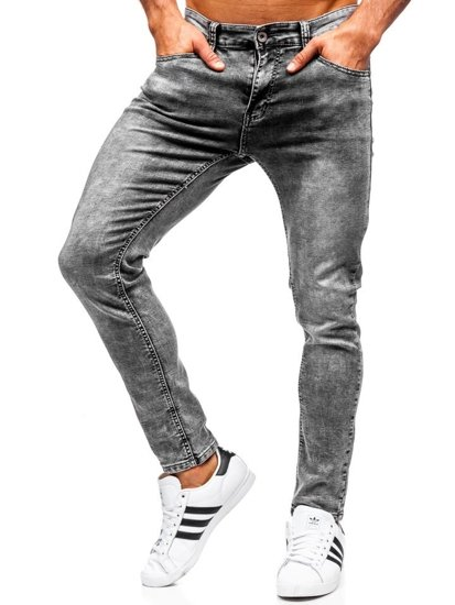 Spodnie jeansowe męskie slim fit czarne Denley KX186