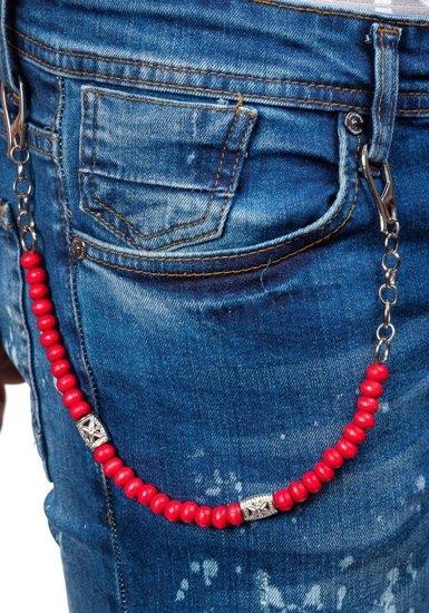Spodnie jeansowe męskie slim fit granatowe Denley 303