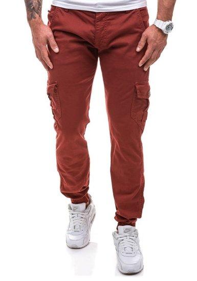 Spodnie joggery bojówki męskie bordowe Denley 0802