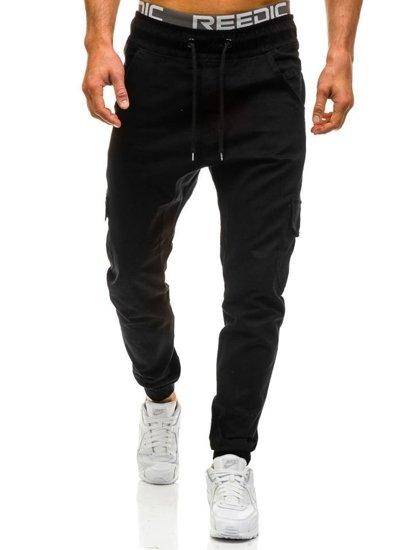 Spodnie joggery bojówki męskie czarne Denley 0404gbr
