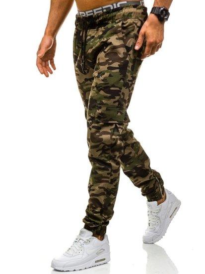 Spodnie joggery bojówki męskie moro-zielone Denley 0858