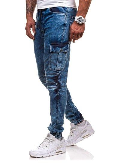 Spodnie joggery bojówki męskie niebieskie Denley 4257