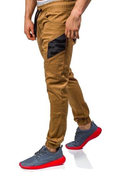 Spodnie joggery męskie camelowe Denley 0706