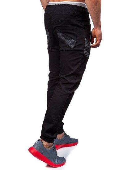 Spodnie joggery męskie czarne Denley 0706