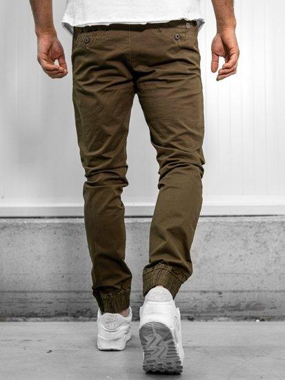 Spodnie joggery męskie khaki Denley KA951