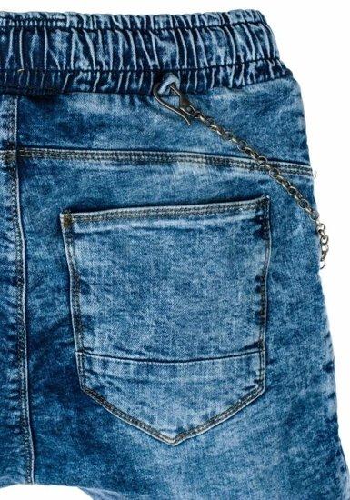 Spodnie joggery męskie niebieskie Denley 803