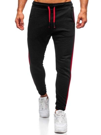 Spodnie męskie dresowe czarne Denley 11120