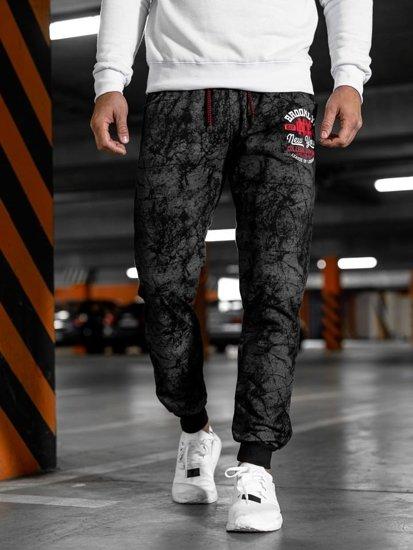 Spodnie męskie dresowe czarne Denley MK18