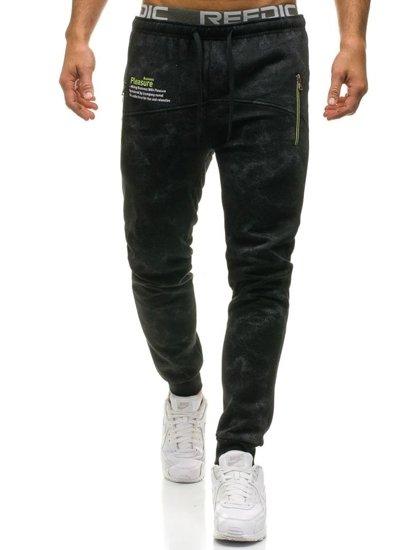 Spodnie męskie dresowe czarne Denley W1552