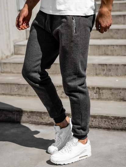 Spodnie męskie dresowe grafitowe Denley JX8985