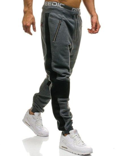 Spodnie męskie dresowe joggery grafitowe Denley 1937