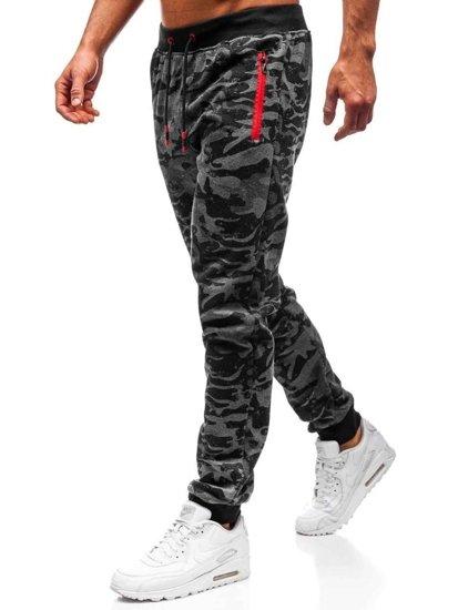 Spodnie męskie dresowe joggery grafitowe Denley 55021