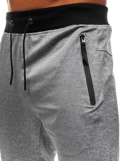 Spodnie męskie dresowe joggery szare Denley HM007