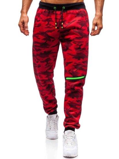 Spodnie męskie dresowe moro-czerwone Denley 55028