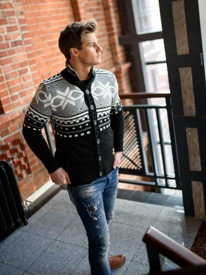 Stylizacja nr 154 – sweter rozpinany, T-shirt męski, spodnie jeansowe