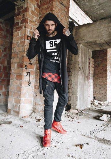 Stylizacja nr 181 - bluza z kapturem, T-shirt z nadrukiem, spodnie baggy, buty sneakersy