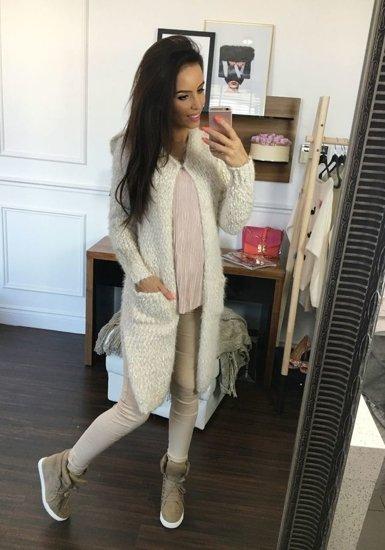 Sweter kardigan damski ecru Denley 002J