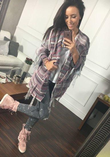 Sweter kardigan damski różowy Denley 01