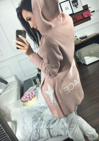 Sweter kardigan damski różowy Denley 05
