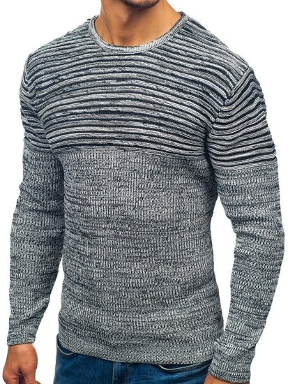 Sweter męski biało-czarny Denley 156