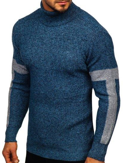 Sweter męski golf niebieski Denley H1927