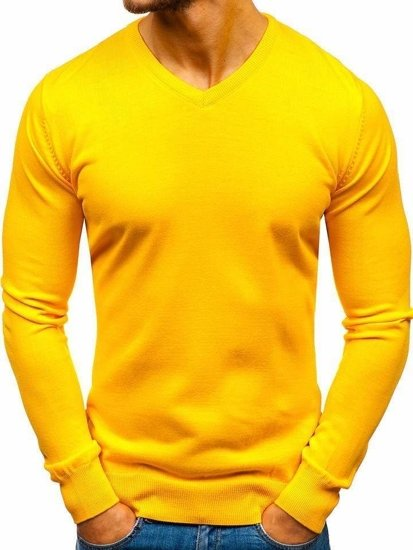 Sweter męski w serek żółty Denley 2200