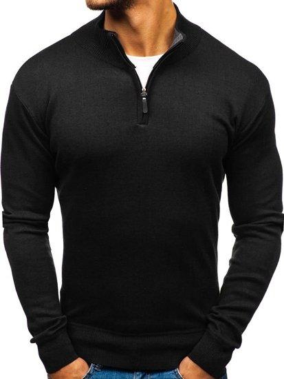 Sweter męski ze stójką czarny Denley BM6043