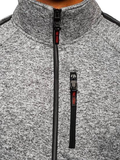 Szara bez kaptura bluza męska rozpinana Denley TC1001