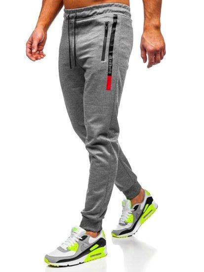 Szare spodnie męskie dresowe Denley JX8018-1