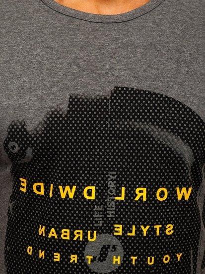 Szary T-shirt męski z nadrukiem Denley SS10931