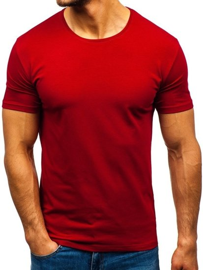T-shirt męski bez nadruku bordowy Denley 9001-1