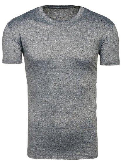 T-shirt męski bez nadruku ciemnoszary Denley 2011T
