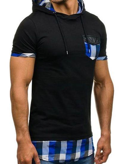 T-shirt męski bez nadruku czarno-niebieski Denley 0479