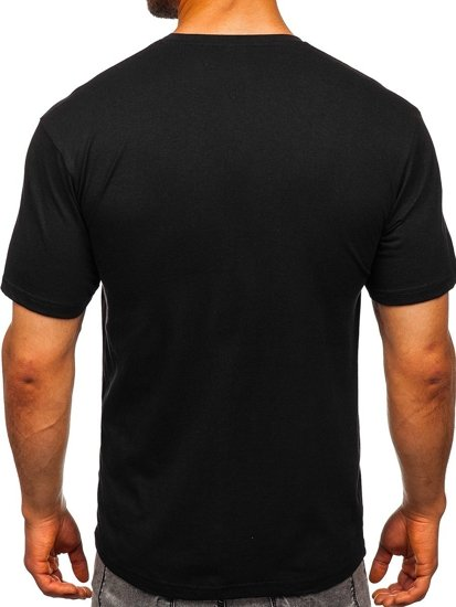 T-shirt męski bez nadruku czarny Bolf 14291