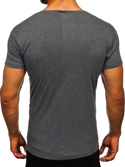 T-shirt męski bez nadruku grafitowy Denley NB003