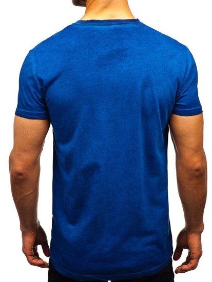 T-shirt męski bez nadruku granatowy Denley 100728
