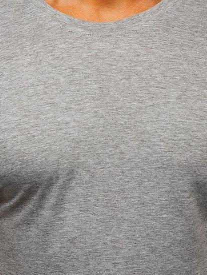 T-shirt męski bez nadruku szary Denley 2005