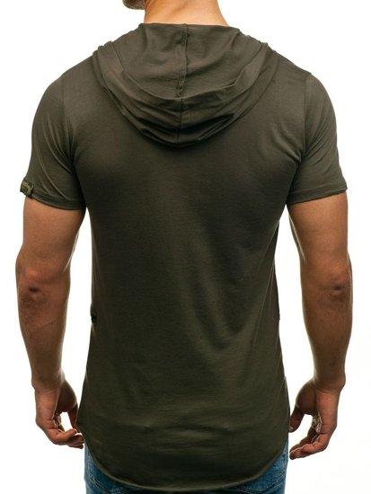 T-shirt męski bez nadruku zielony Denley 459