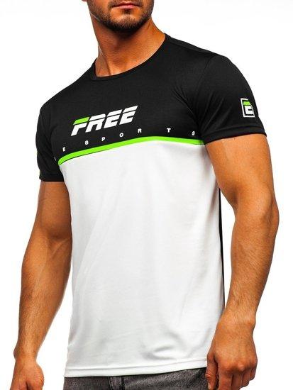 T-shirt męski treningowy z nadrukiem biały Denley SS10996